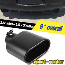 """Black 2.5"""" Inlet 5.5"""" x 3"""" Outlet 12"""" Long Slant Rolled Exhaust Tip Tail Pipe"""