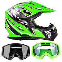New Youth Green Motocross Helmet DOT With Dirtbike Goggles Kids OffRoad UTV ATV