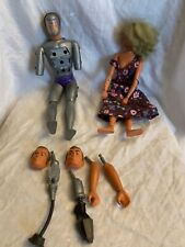 SIX MILLION DOLLAR MAN + Woman Bionic Maskatron Figure/Doll 1973 Denys Fisher