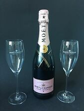 Moet & Chandon Imperial Rose Champagner Flasche 0,75l 12% Vol. + 2 Moët Gläser