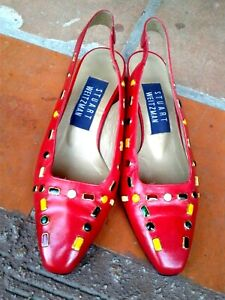 Vintage STUART WEITZMAN Women size 5 Shoes RED with Color Studs Sling Back
