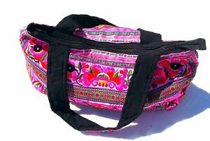 Large hmong hilltribe bright pink embroidered cotton shoulder ladies bag