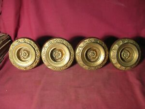 Set Of 4 Antique Mid 19th C. Stamped Gilt Brass Curtain Tie Backs