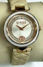Versus by Versace VSPCD5018 Rose Gold-Tone Leather Strap Ladies Watch WARRANTY