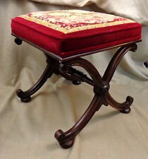 Antique Victorian Foot Stool Ottoman Curule X Base Bench Chair Embroidery 1835