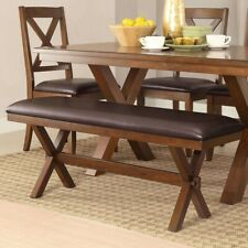 Rustic Dining Table 4 Piece Set Brown Trestle Style Kitchen 2 Chairs 1 Bench