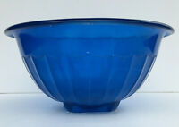 1940s Bartlett Collins Fired-On Blue Glass Mixing Bowl Vintage Kitchen Glassware