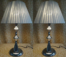 Pair of New Modern Designer Style Bedside table Lamp with Silver Round Shade