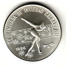 5 pesos plata 1986 PATINADORA Olimpiada de Invierno Calgary - Isla del Caribe