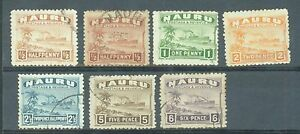 Nauru 1924 rough surface 6 vals from sg.26A to 34A used
