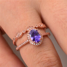 Gorgeous Rose Gold Filled Women's Wedding Rings Jewerly Amethyst Ring Size 9