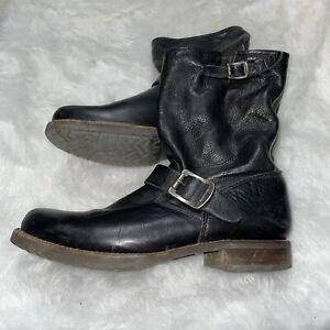 Frye Veronica Short Leather Slouch Boots Women's Size 8.5 M Biker Black