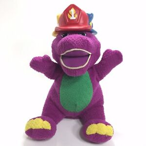 """Fisher-Price 2001 Barney & Friends 'Silly Hats' Talking Soft Plush Toy 11"""" WORKS"""