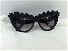 New lovely black  with pearl  rose clay flower cat eye UV 400 Sunglass