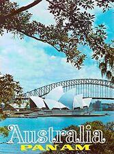 Australia Pan Am Sydney Harbor Airline Vintage Travel Advertisement Art Poster