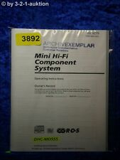 Sony Bedienungsanleitung DHC MD555 Component System (#3892)