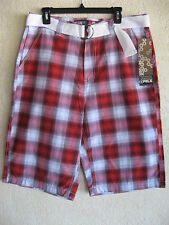 NEW Young Mens South Pole Size 29 Retro Red Plaid Long Casual Shorts + Belt $60