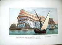 1900 GRANDE TAVOLA A COLORI CON VEDUTA GEOLOGICA DI CAPO MISENO (NAPOLI)