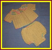 Yellow Hand-Crocheted Handmade 2-Piece Baby Sweater Set 0