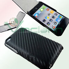 Custodia eco pelle TRAMA NERA per Apple iPod Touch 4 4g carbon sottile