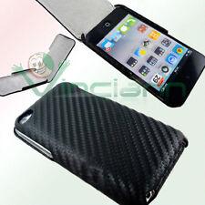 Custodia eco pelle TRAMA NERA per Apple iPod Touch 4 4g carbon sottile