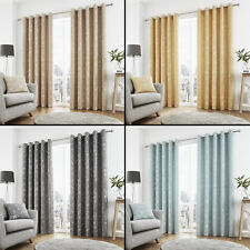 Sagano Jacquard Leaves Fully Lined Eyelet Ring Top Curtains - Four Colours
