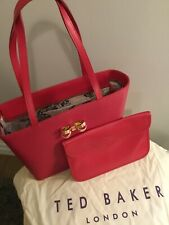 Ted Baker Deep Pink Leather Shopper Tote Bag BNWTS & Dust Bag