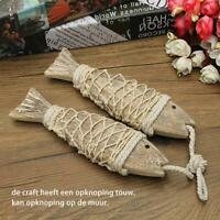 2 Pieces Vintage Hand-carved Hanging Wooden Fish Home Hanging Decor Gifts