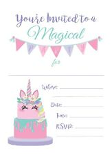 Unicorn Cake Happy Birthday Invitations Invite Cards 25 Ct W Env Multicolored