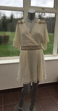New Ladies Vintage Style Wrap Skater Cream Embellished Dress UK 12 CE78