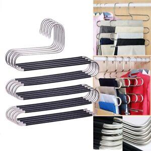 S Shape Clothes Pants Trouser Hanger 5 Layer Storage Rack Closet Space Saver.