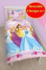 NEW DISNEY PRINCESS ENCHANTING SINGLE DUVET QUILT COVER GIRLS PINK BEDDING SET