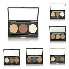 3 Couleurs Palette Sourcil Poudre Cosmétique Maquillage Ombre avec Brosse Miroir