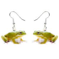 Acrylic Cute Green Frog Earrings Dangle Drop Fashion Jewelry For Women Kid Gifts