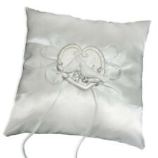 White Satin Ring Bearer Wedding Pillow with Ribbon and Resin heart and doves New