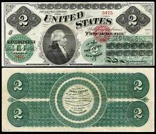 NICE CRISP UNC. 1862 U.S. $2.00 GREENBACK  BANK COPY NOTE! READ DESCRIPTION