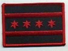 Chicago Flag Patch,Red & Black  Motorcycle Club Colors, Biker Patches,