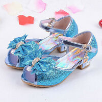 New Popular Kids Girls Summer Dress Up Casual High Heels Sandals Princess Shoes