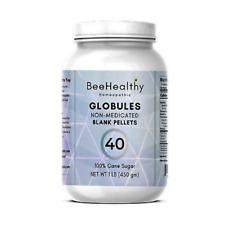 Globules #40 - Blank Pellets. 1LB JAR. 100% Cane Sugar. Homeopathic