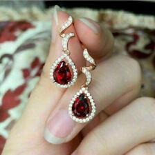 4Ct Pear Cut Red Ruby Diamond Women's Drop Dangle Earrings 14K Rose Gold Finish