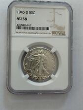 1945-D Walking Liberty Silver Half Dollar 50c NGC AU 58