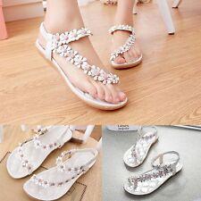 Women's Elastic Bohemia Flower Flat Shoes Beach Sandal Slipper Flip Flops New#