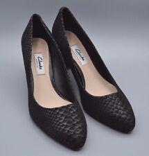 """""""feliz nube"""" Clark's Para Mujer/Damas Negro Cuero Serpiente Zapatos Talla 6.5 D."""