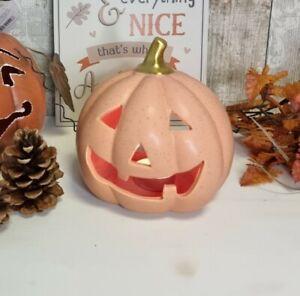 Ceramic Porcelain Orange Halloween Pumpkin Tealight Candle Lantern
