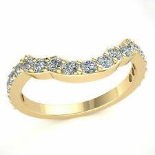 Custom Matching Wedding Band Ring Round Diamond 14k Gold 0.85ct
