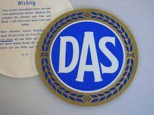 INSIDE WINDOW DAS DECAL BADGE MERCEDES 190 300 SL VW COX BUG NOS