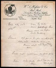 c1890 Seattle WA - W D Hofius & Co - Steel Rails Railway Supplies Letter Head