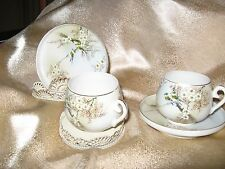 TWO DEMITASSE CUPS & SAUCERS BIRDS PINK BLOSSOMS IWANO JAPAN FINEST CHINA