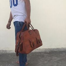 New Brown Vintage Genuine Leather Cowhide Travel Luggage Duffle carry on bag