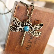 Vintage Retro Dragonfly Rhinestone Crystal Necklace Pendant Jewelry Women's